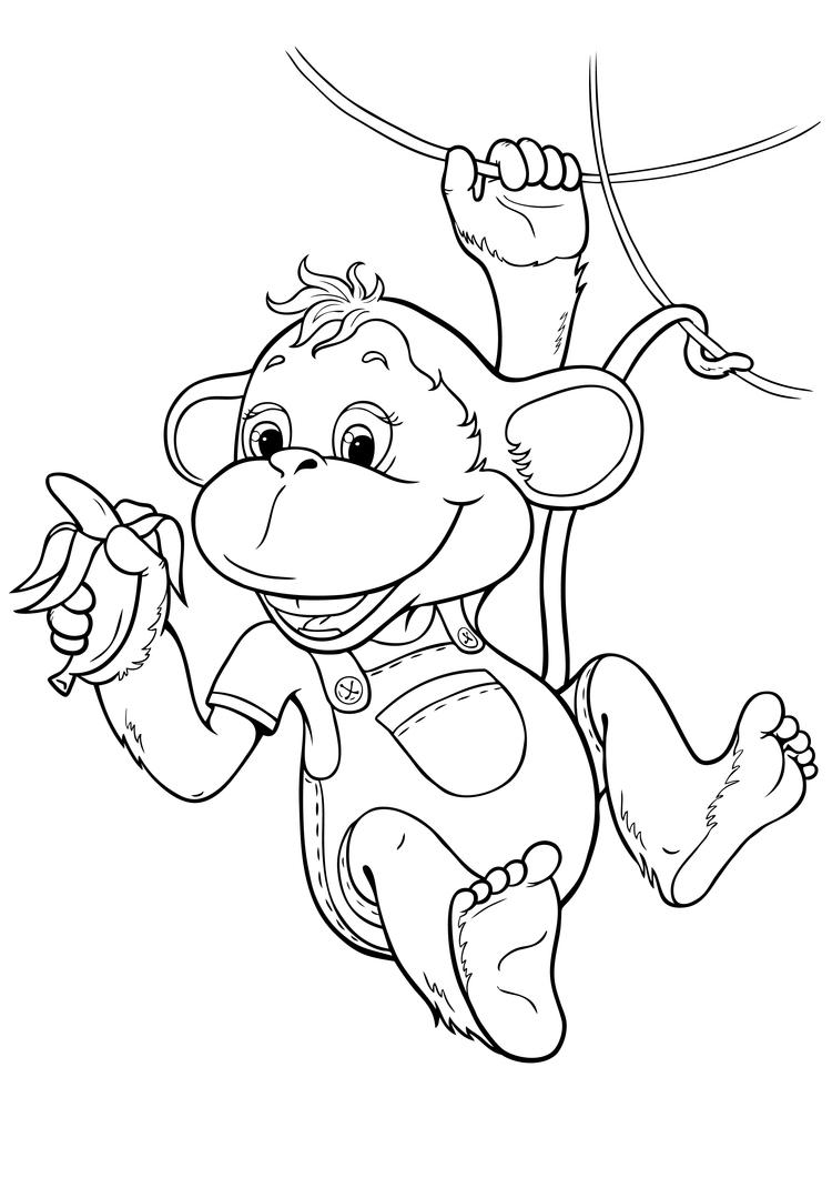 Новогодние раскраски обезьяна