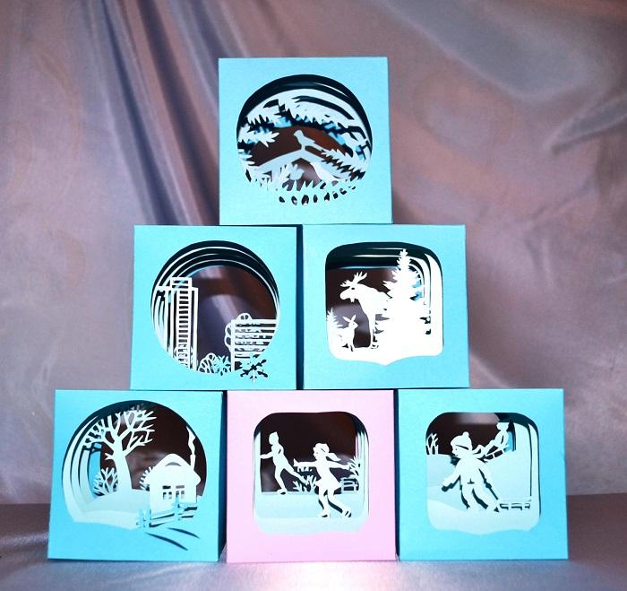 Новогодний кубик-тоннель или объемные новогодние поделки из бумаги своими руками
