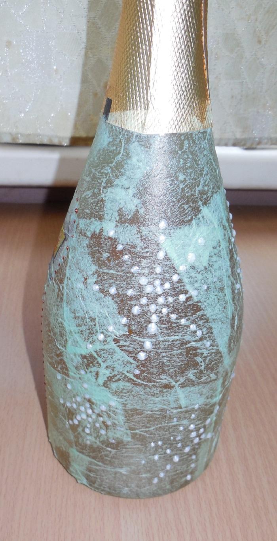 как украсить бутылку шампанского на Новый год своими руками