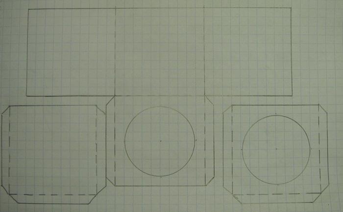 Новогодний кубик-тоннель, схема заготовки