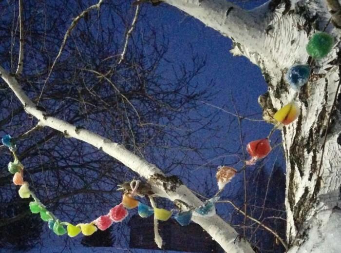 Новогодняя гирлянда для улицы из льда своими руками