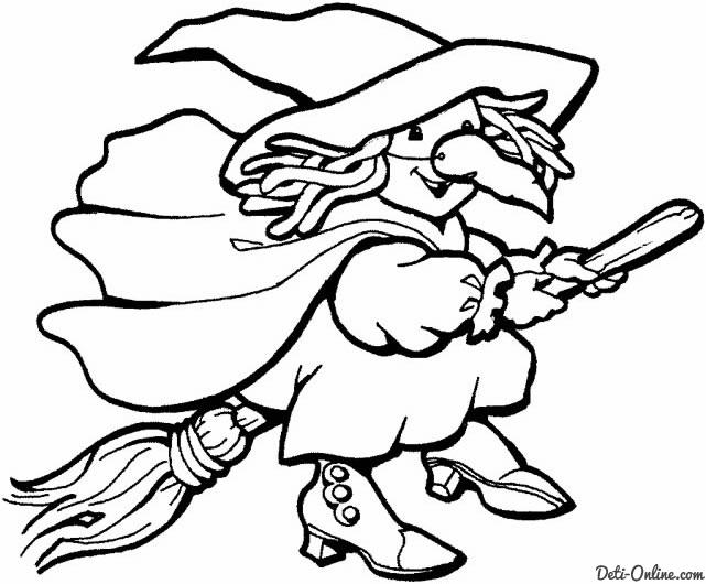 Раскраска-ведьма на Хєллоуин