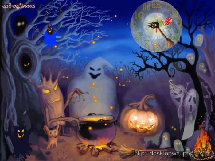 Страшные открытки на Хэллоуин с привидениями