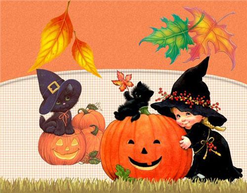 Страшные открытки на Хэллоуин с тыквами