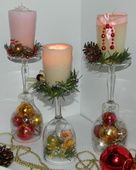 Подсвечники из бокалов на Новый год своими руками