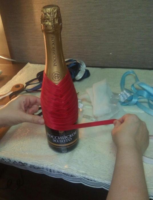 Бутылка шампанского Новый год своими руками