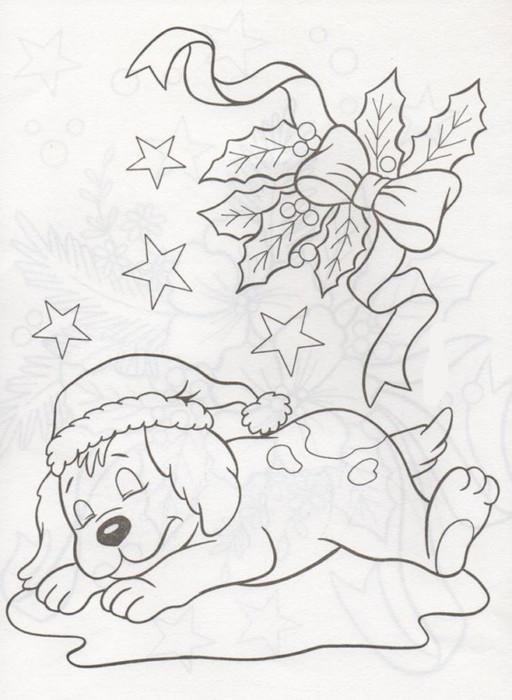 Новогодние раскраски для детей в год Собаки