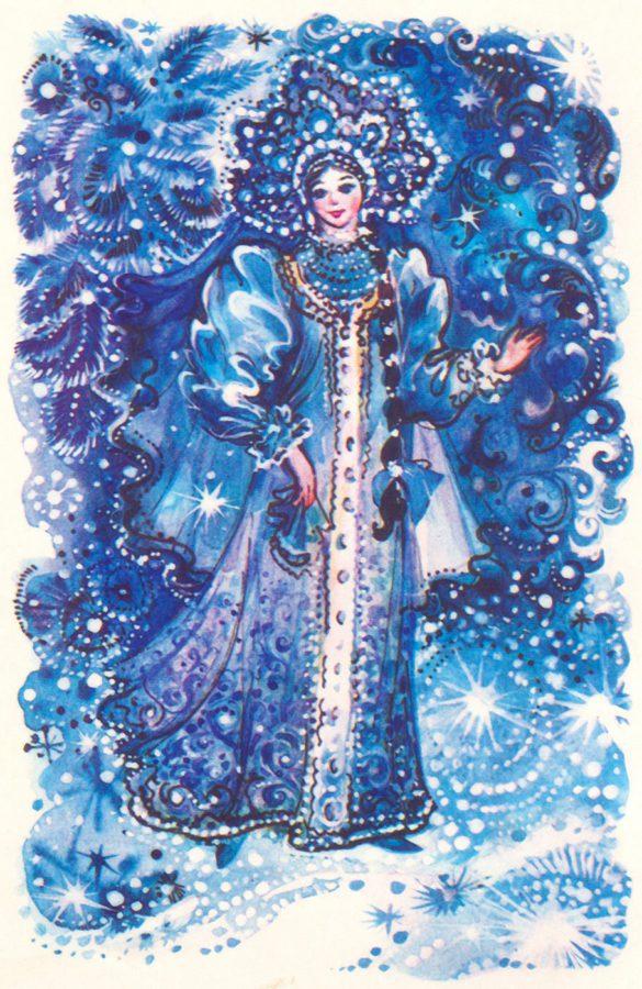 Красивые новогодние открытки со Снегурочкой