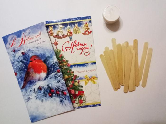 Новогодний домик из палочек от мороженного