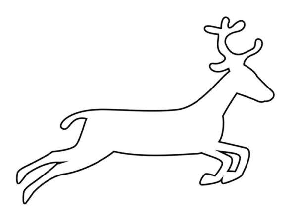Новогодний олень - трафарет для вырезания из бумаги