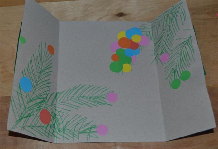 Детская новогодняя открытка из картона и фетра своими руками