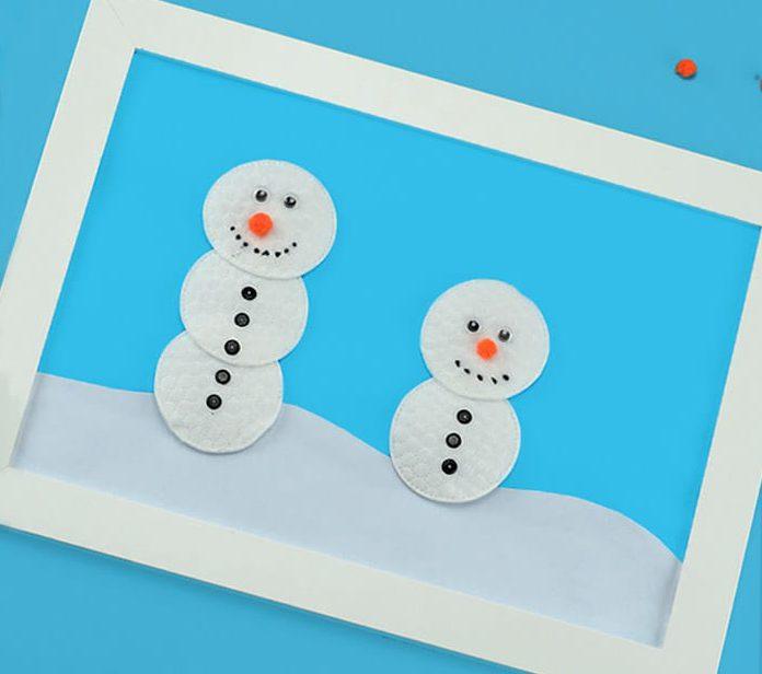 Новогодняя аппликация снеговик из ватных дисков своими руками