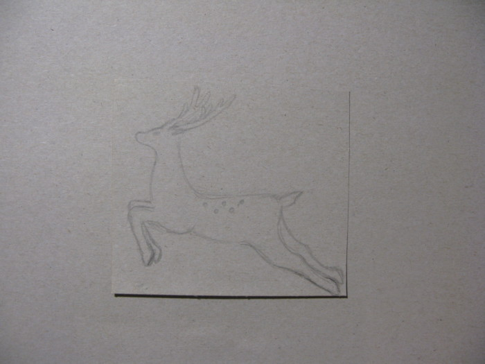 Трафарет новогоднего оленя из бумаги