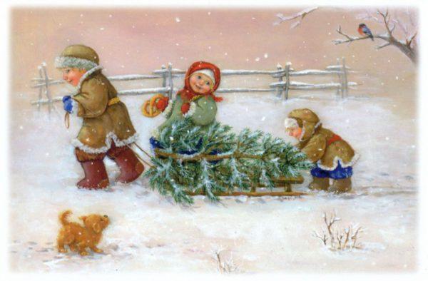 Старые открытки с Новым годом и Рождеством