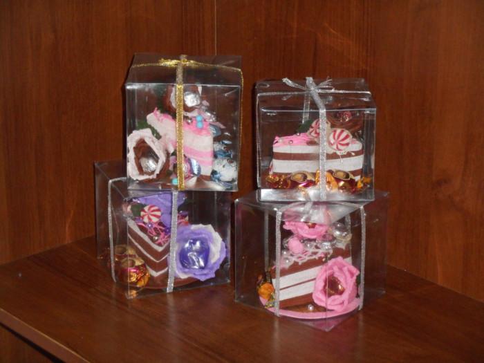 Кусочек торта из бумаги - упаковка для конфет своими руками