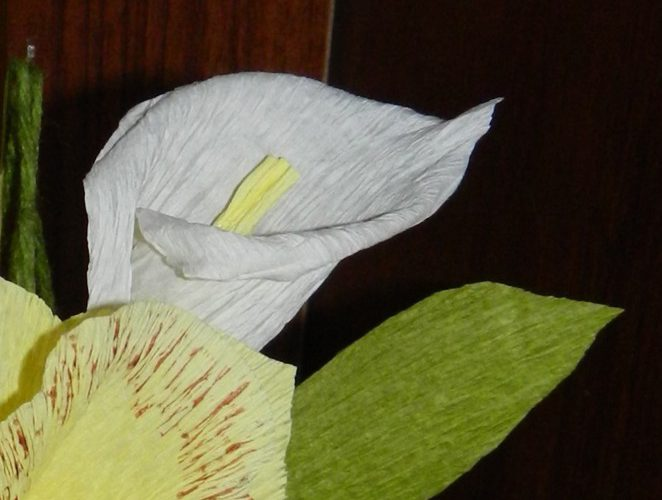каллы из гофрированной бумаги