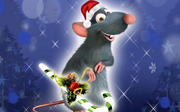 Новогодние обои на рабочий стол год Крысы - Мыши