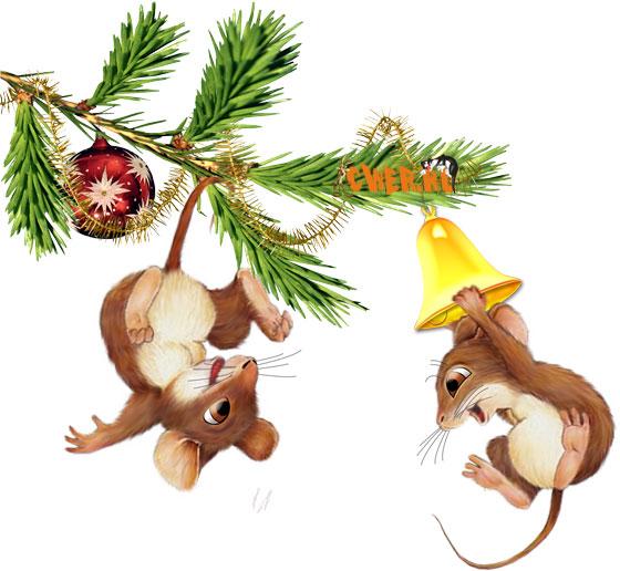 Красивые рисунки с крысой новогодней