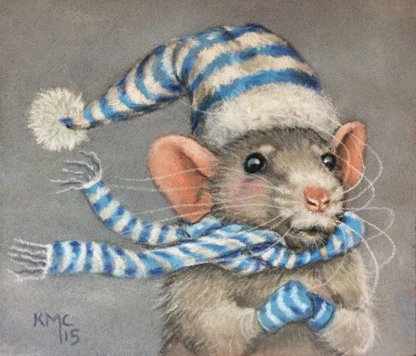 Стильные прикольные нарисованные картинки с новогодними крысами и мышами