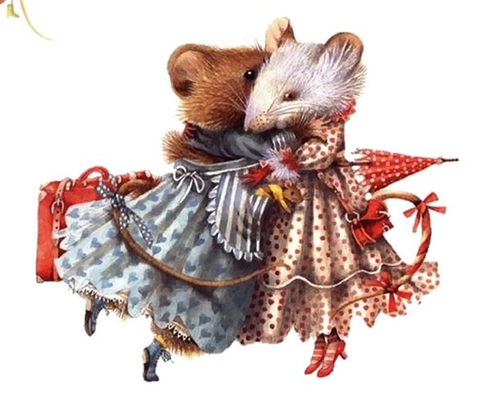 Красивые нарисованные картинки с мышами на Новый год