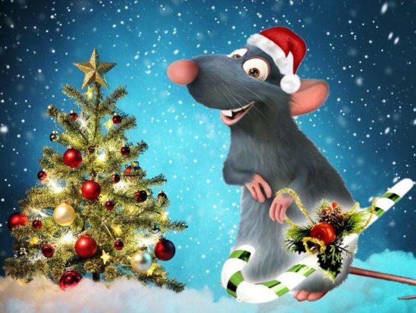 Новогодние рисованные картинки с крысами и мышами