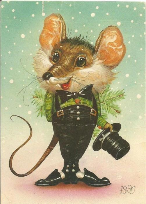 Новогодние рисунки с мышками и крысами
