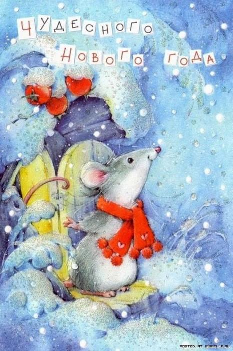Оригинальные рисунки с Новым годом с крысами или мышками