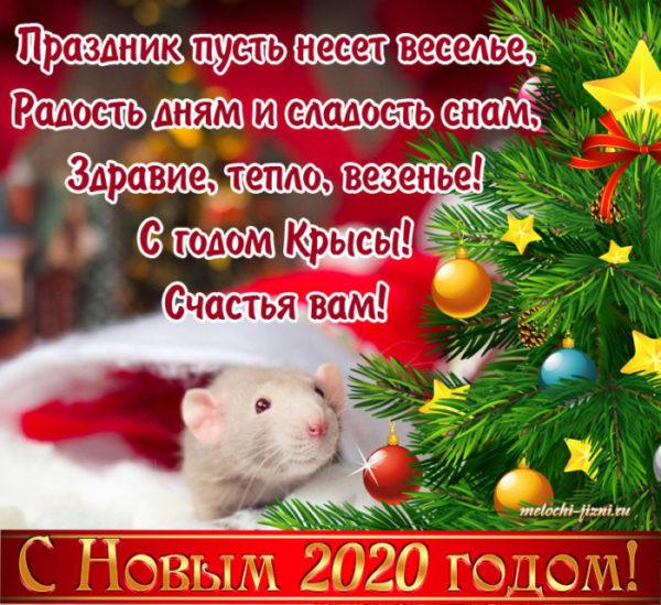 Лучшие открытки с новогодними крысами и мышами - короткое поздравление