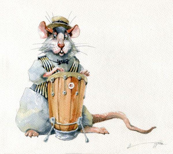 Стильные заставки на телефон с новогодними крысами и мышами
